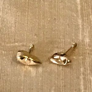 GOLD FOLD-FORMED EARRINGS TINY ACCENT STUDS CUTE